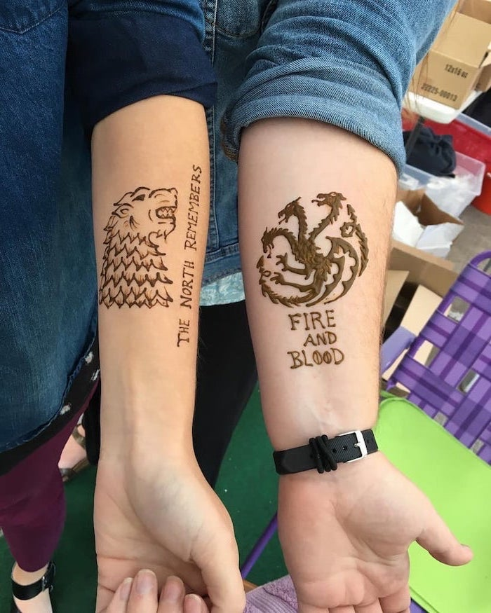 the north remembers, fire and blood, his and hers tattoos, game of thrones inspired, starks and targrayens