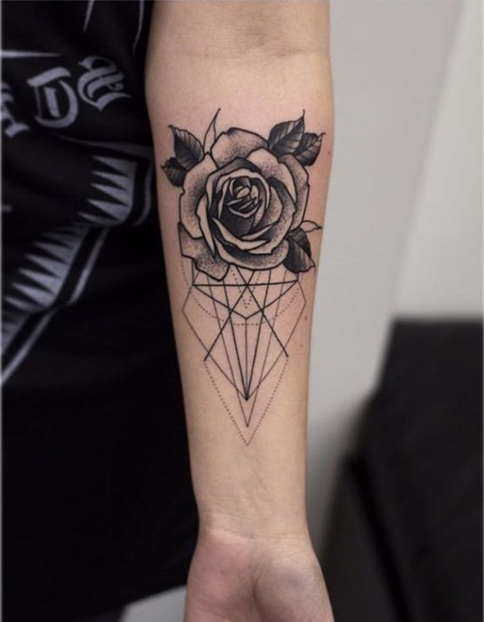 tattoos for moms, geometrical rose, black top, forearm tattoo