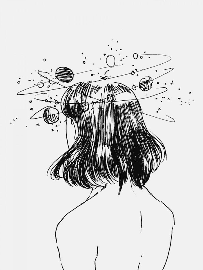 girl drawing, planets around the head, white background, black and white tumblr