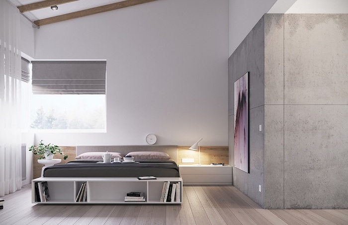 grey granite accent wall, bedroom design ideas, white bed, wooden floor, white drawers