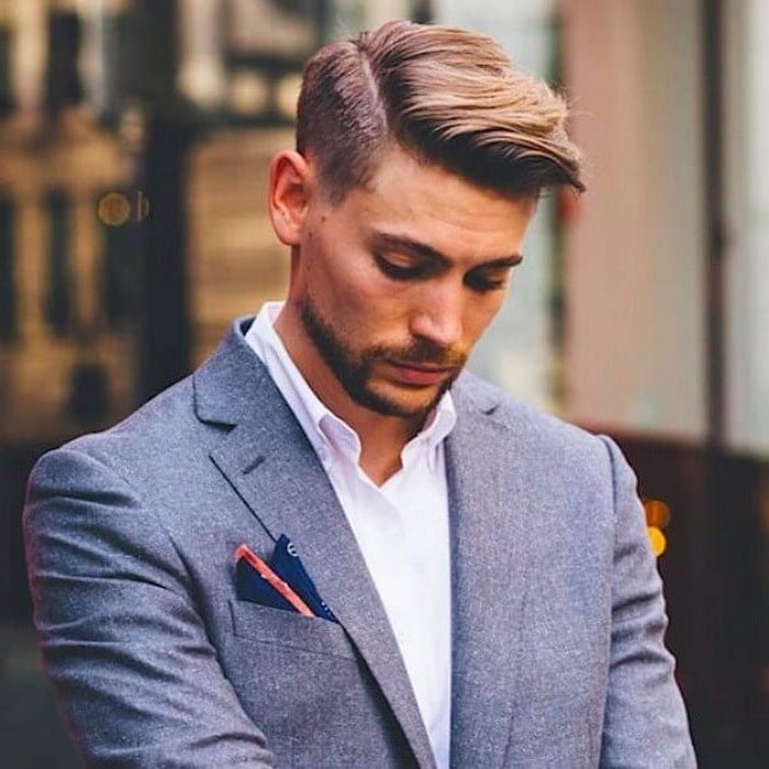 grey jacket, cool haircuts for men, white shirt, blonde hair