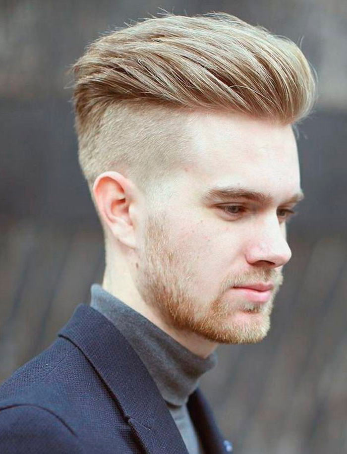 blonde hair, cool haircuts for men, navy jacket, grey polo blouse