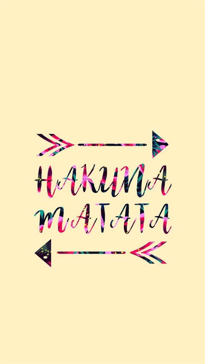yellow background, floral hakuna matata, cute wallpapers, floral arrows