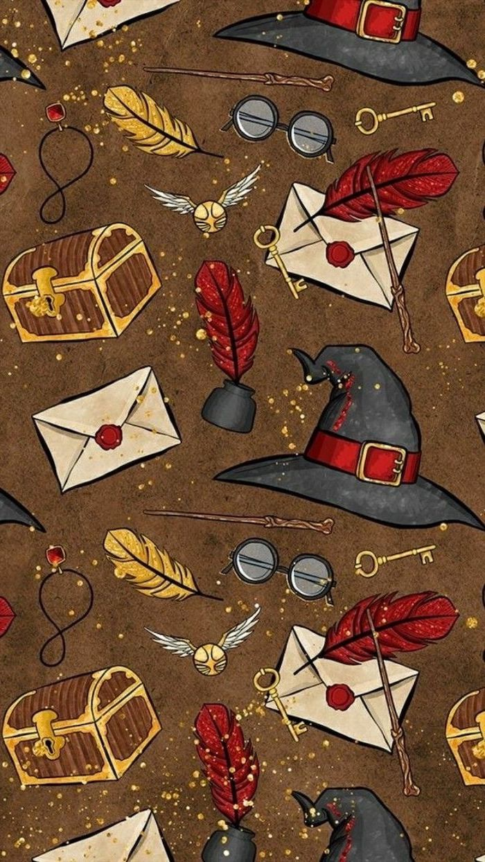 harry potter inspired, kawaii background, magical objects, on a brown background