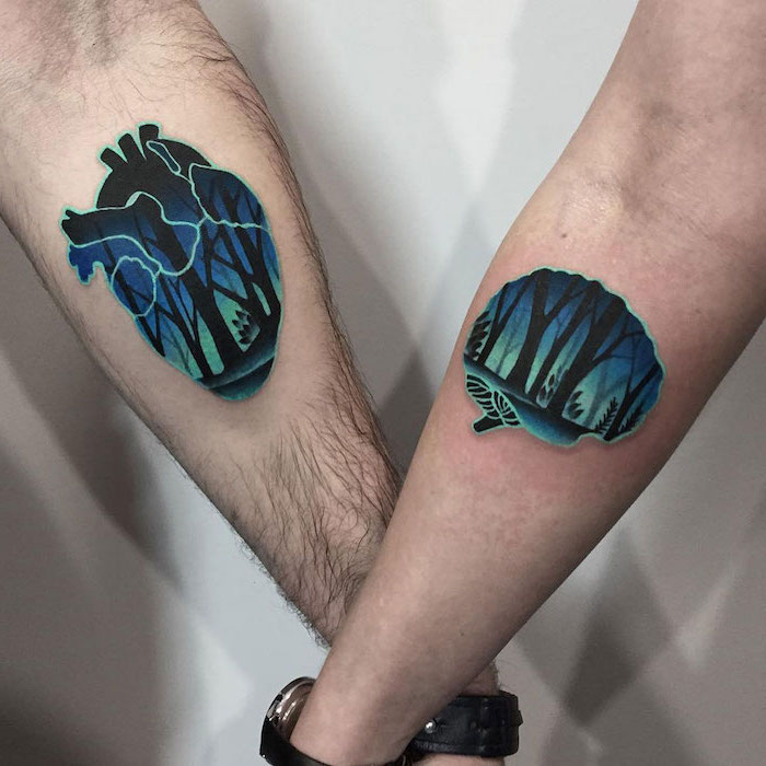 brain and heart, forest landscape, his and hers tattoos, forearm tattoos