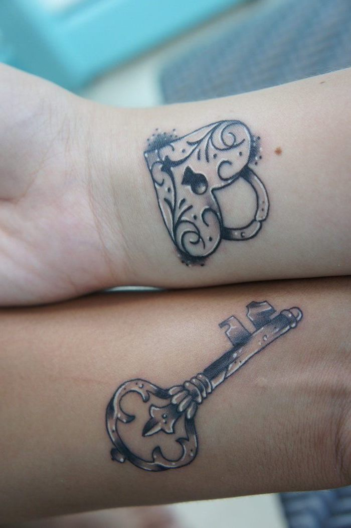 matching tattoos for couples in love, lock and key, wrist tattoos