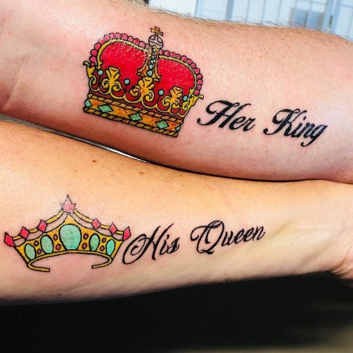 her king, his queen, coloured crowns, matching tattoos for couples in love