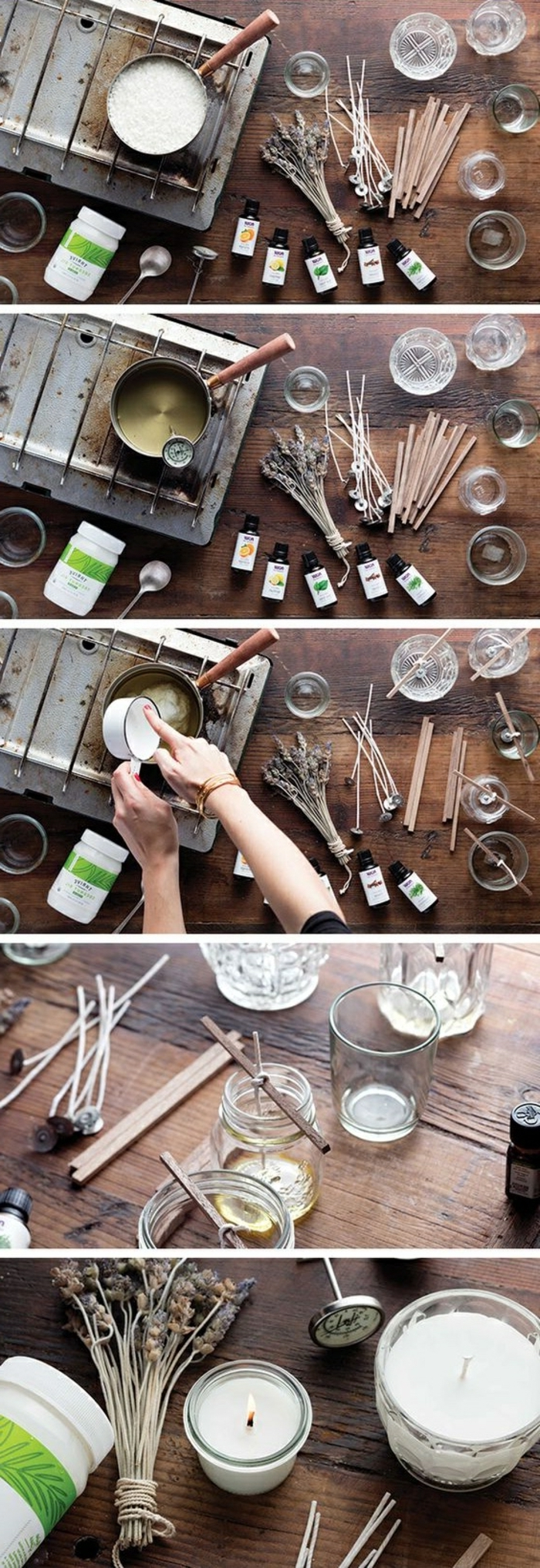 step by step, diy tutorial, herbs infused candles, how to make a candle wick