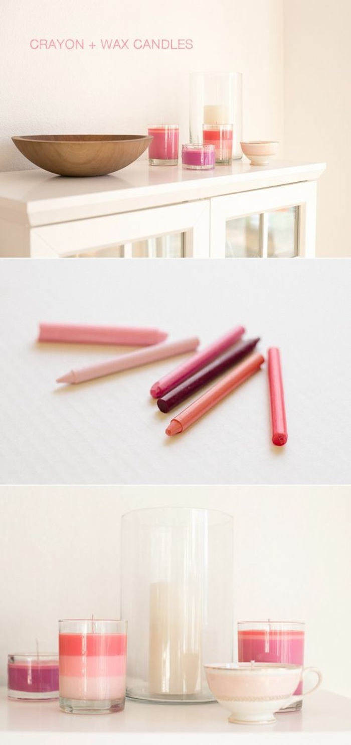 crayon and wax candles, diy tutorial, step by step, how to make candle wax