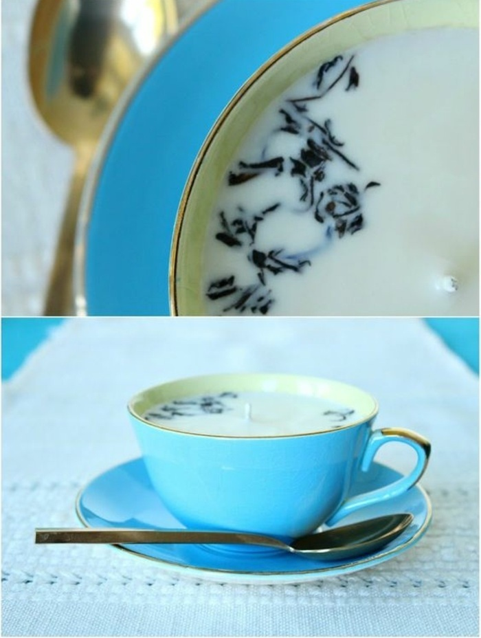 small blue teacup and plate, how to make a candle wick, white candle wax inside, white table runner