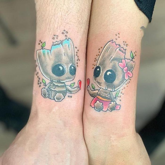 baby groot and girl, arm tattoos, couple tattoo ideas, coloured tattoo
