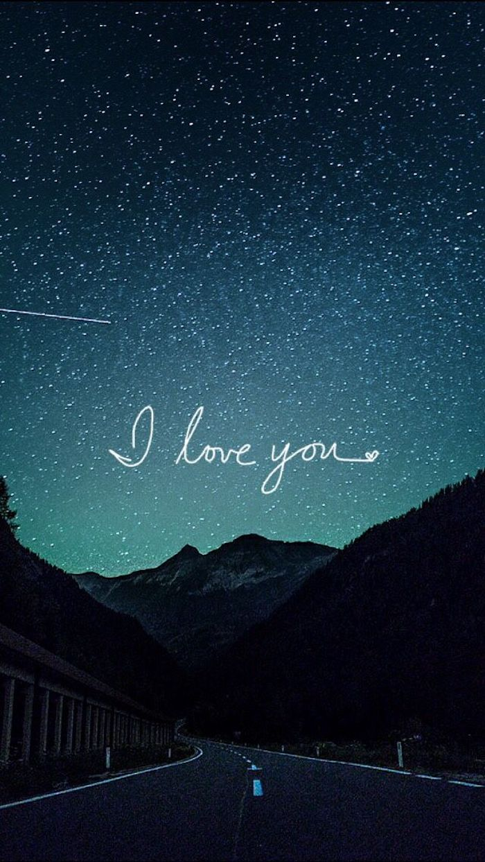 i love you, road leading to a mountain, 4k iphone wallpaper, mountain landscape, starry sky
