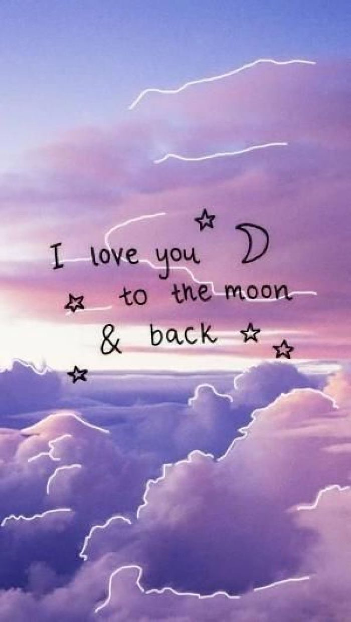 i love you to the moon and back, cute girly wallpapers, purple and pink sky