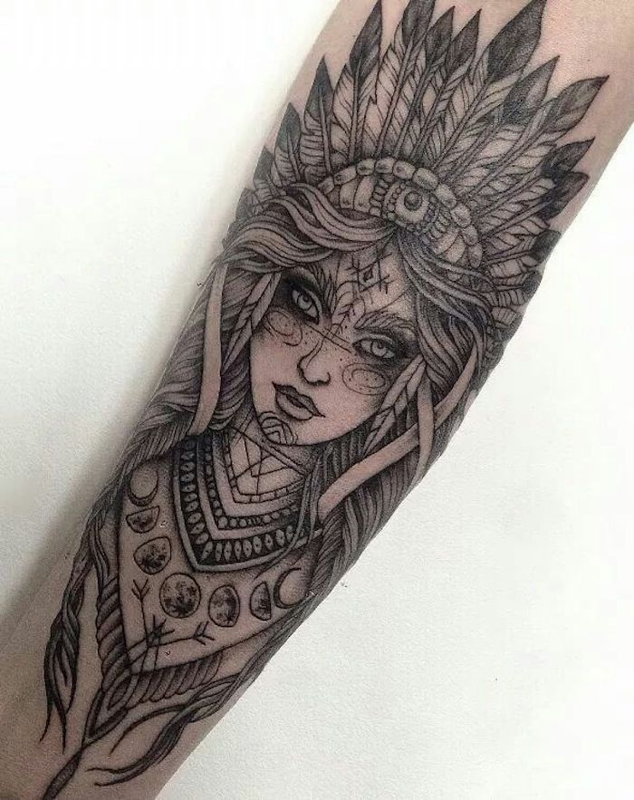 indian woman, large forearm tattoo, chest tattoos for females, white background