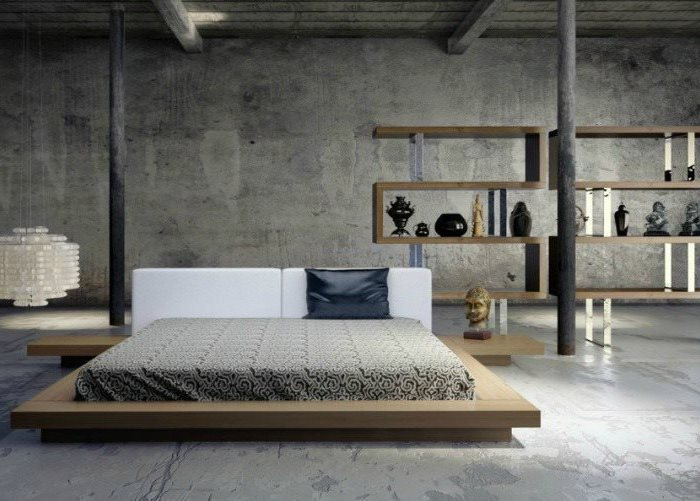industrial style, wooden bed frame, small master bedroom ideas, wooden bookshelves, grey floor