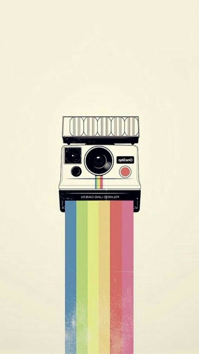instagram inspired, vintage polaroid camera, with a rainbow, cute girly wallpapers