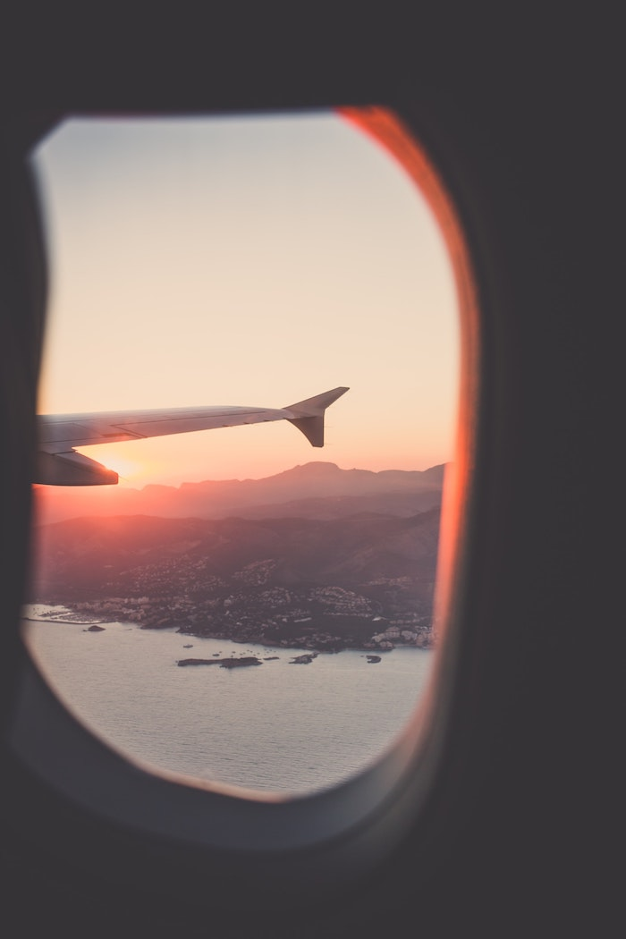 looking through a windows, airplane wing, sunset sky, iphone wallpaper tumblr, mountain island landscape