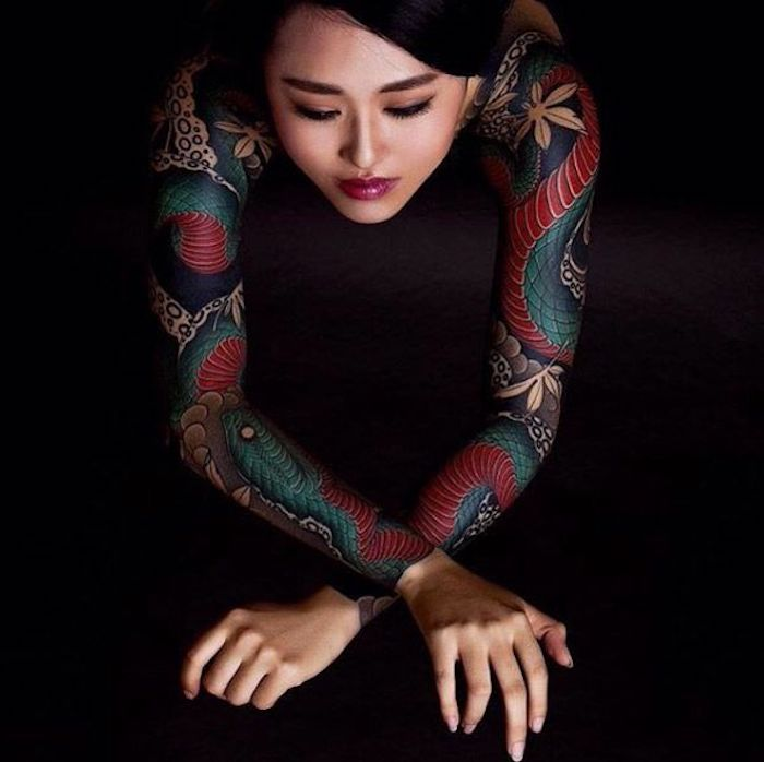 leg tattoos for women, japanese dragon, both arm sleeves tattoo, black background