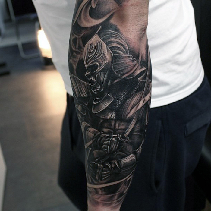 knight in armour, forearm sleeve, simple tattoos for men, white shirt, navy pants