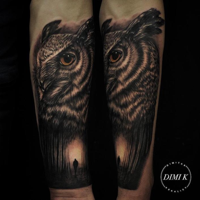 large owl head, man walking through a forest, arm tattoos for men, black background