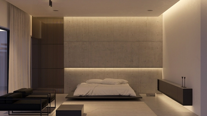 grey walls, led lights, wooden floating bed, black armchairs, master bedrooms, white walls