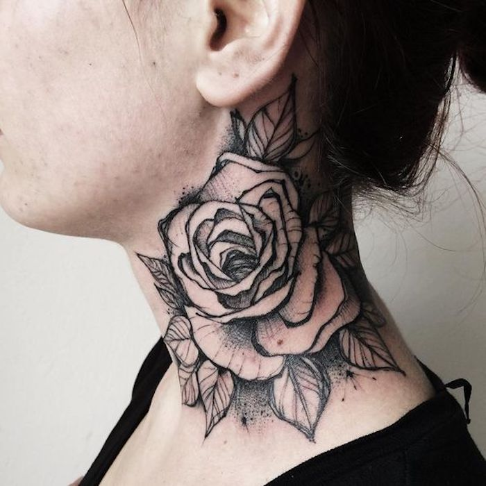 tattoo ideas with meaning, large rose, neck tattoo, white background, black top