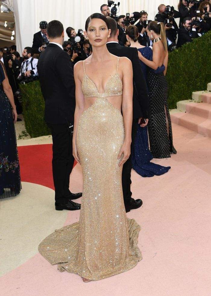 long sequinned dress, worn by lily aldridge, met gala theme, black hair, in a low updo