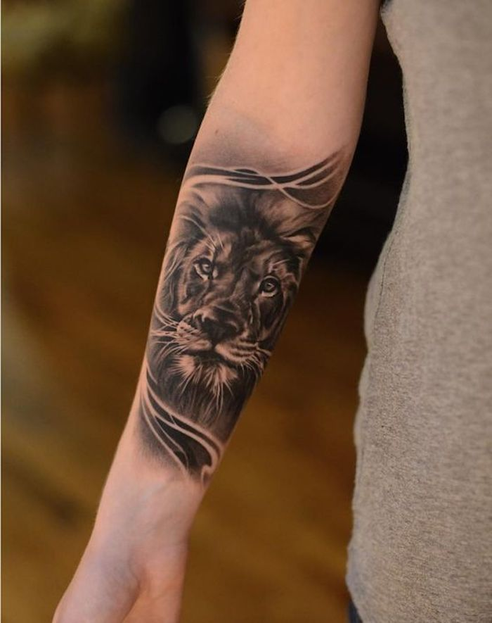 lion head, forearm tattoo, tattoo ideas with meaning, grey top