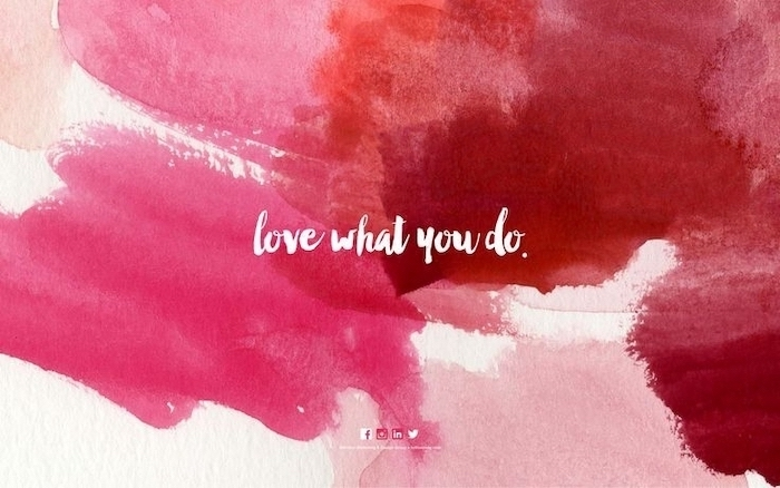 love what you do, pastel pink background, red and pink
