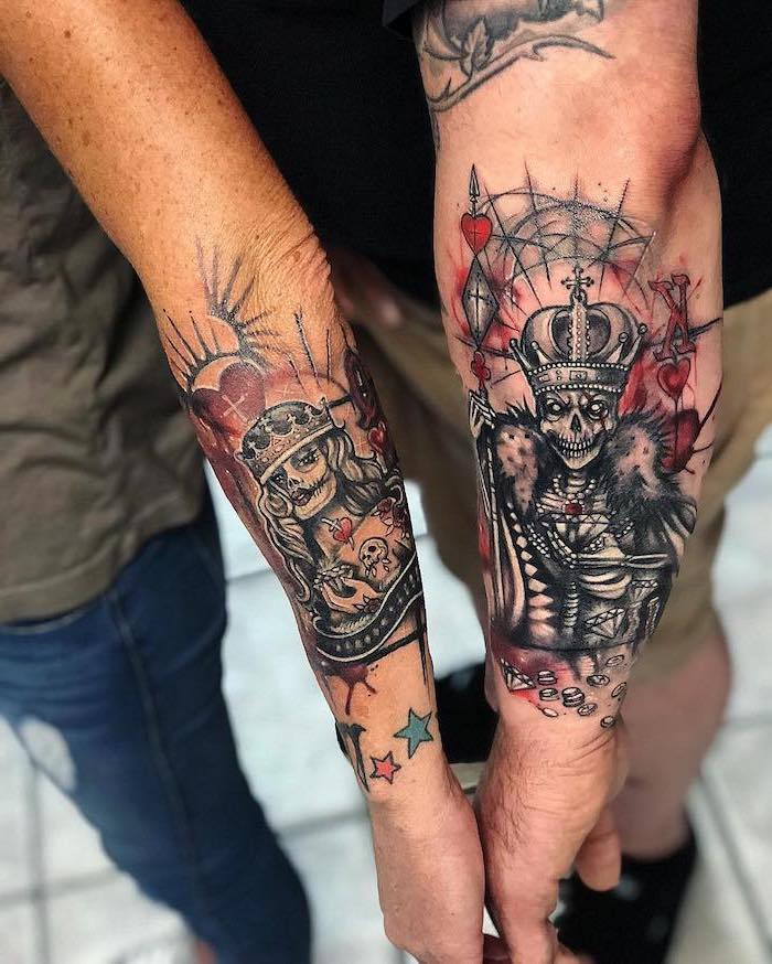 skeleton king and queen, husband and wife tattoos, arm coloured tattoos