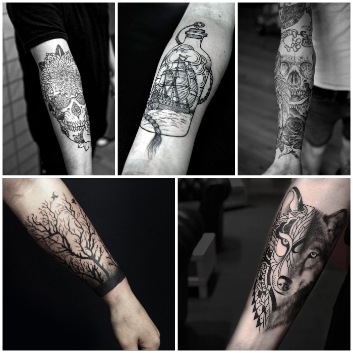 mandala skulls, sailing ship, geometrical wolf, side by side photos, forearm tattoo ideas