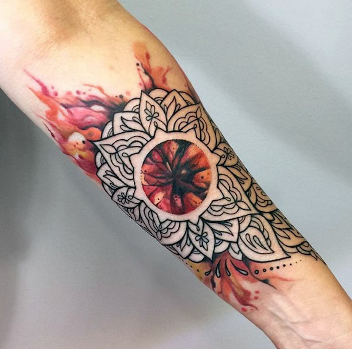 watercolour forearm tattoo, small tattoos for men, mandala tattoo, white background