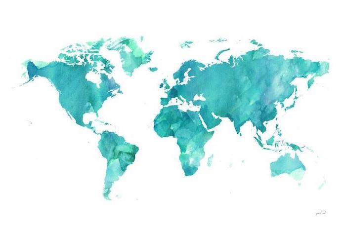 turquoise map of the world, on a white background, cool backgrounds for girls