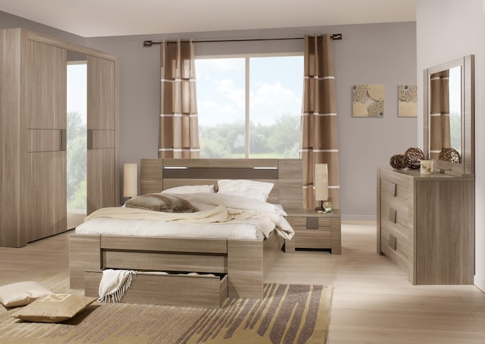 wooden floor, master bedrooms, wooden bed frame, with drawers, wooden wardrobe and drawers