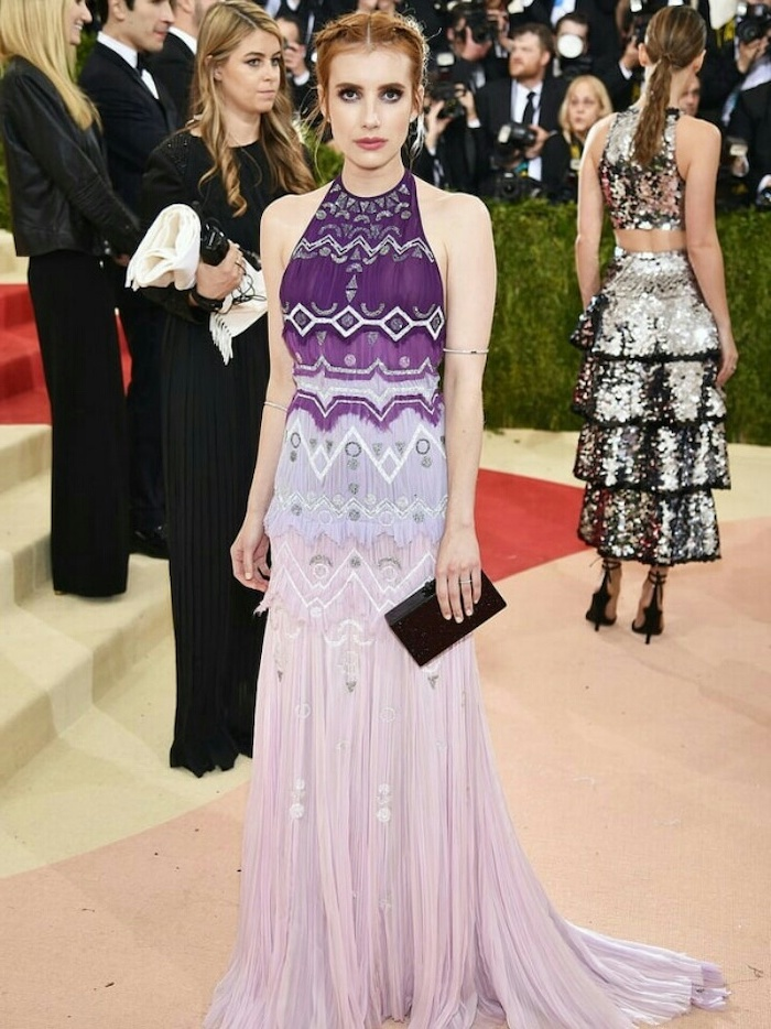 shades of purple dress, emma roberts, met gala 2017 date, braided updo, black clutch bag