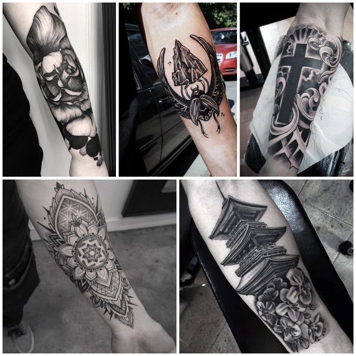 tattoo ideas for guys, side by side photos, floral and mandala, japanese inspired