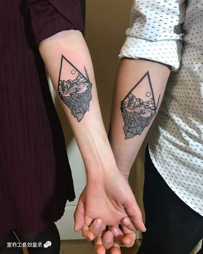 nature landscape, geometrical forearm tattoo, husband and wife tattoos, holiding hands
