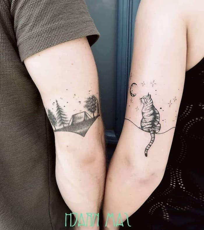nature landscape, sitting cat, back of arm tattoos, boyfriend and girlfriend tattoos
