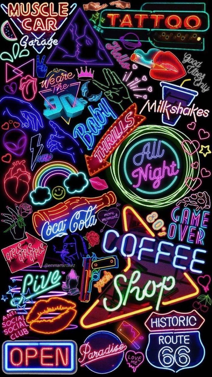90s inspired, neon signs, on a black background, cute wallpapers