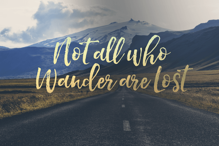 not all who wander are lost, over a mountain landscape, cute wallpapers for girls