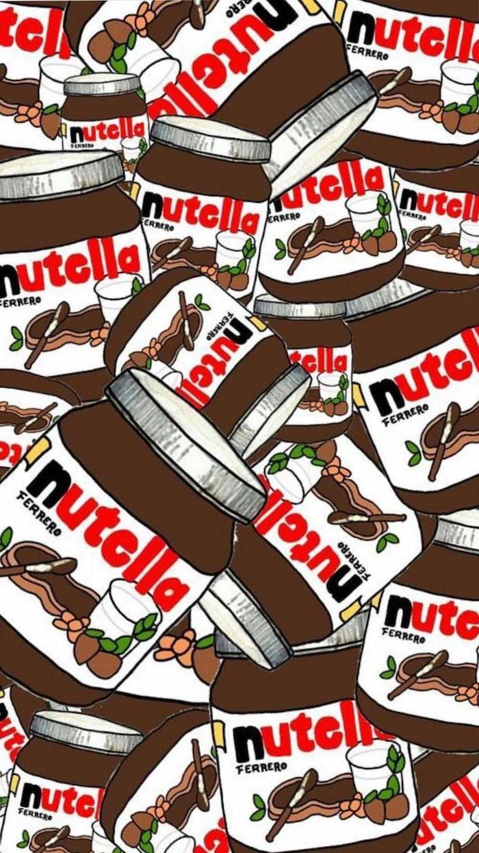 drawing of lots of jars, full of nutella, cute phone backgrounds