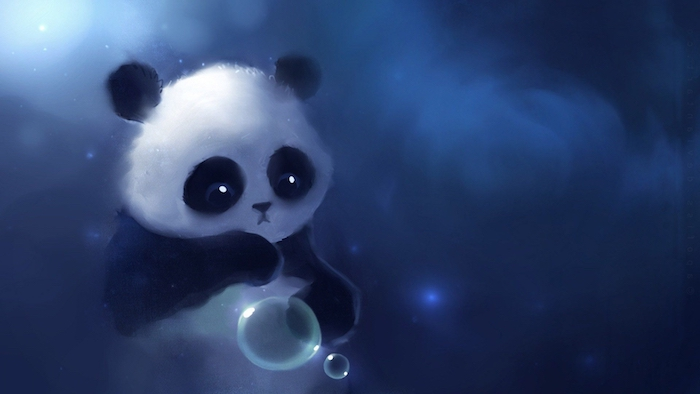 drawing of a panda, cool backgrounds tumblr, dark blue background