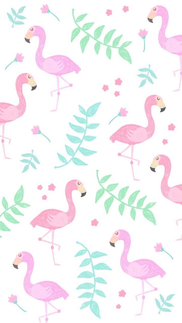 pink flamingos, girly iphone wallpaper, flowers on a white background