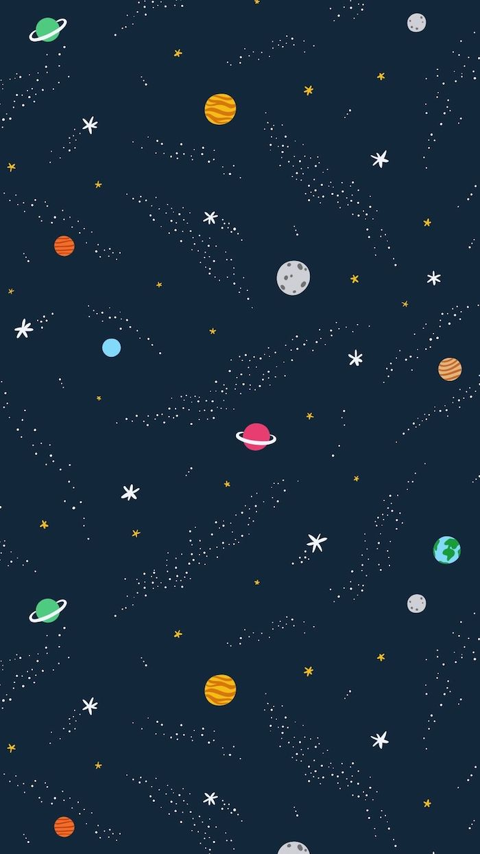 dark blue background, colourful planets drawing, black on white tumblr
