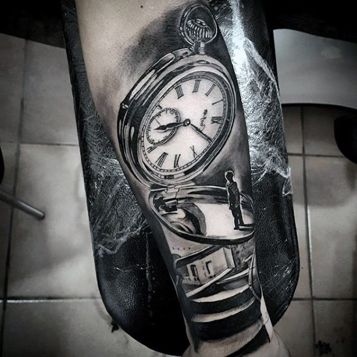 large pocket watch, boy standing in front of it, tattoo ideas for guys, tiled floor
