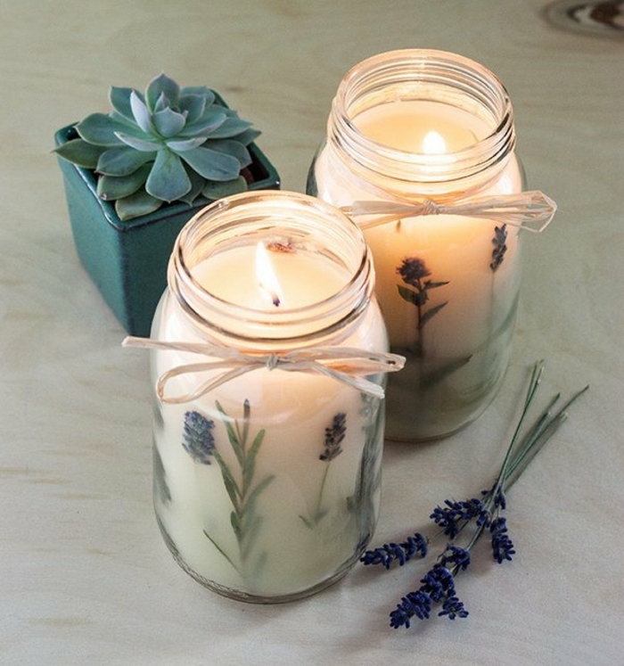 potted succulent, diy candles, two large jars, filled with candle wax, mixed with lavender