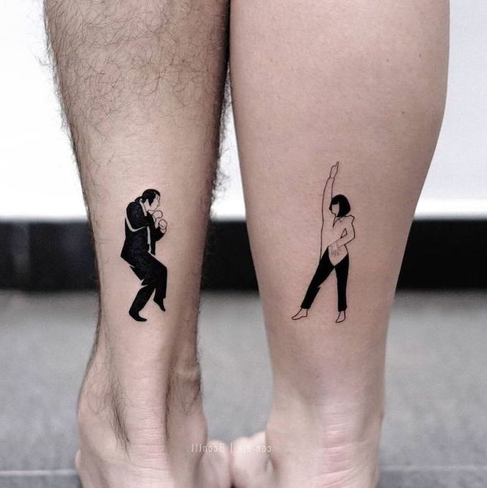 couple tattoos quotes, pulp fiction inspired, back of leg tattoo