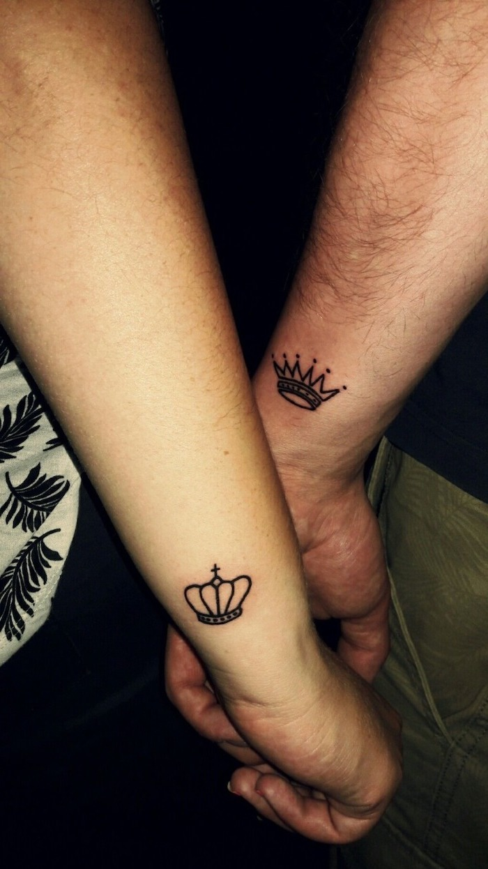 king and queen, small crowns, couple tattoo quotes, wrist tattoos