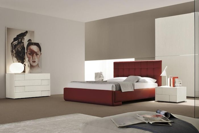 red leather bed frame, over the bed decor, grey walls, white drawers and night stand