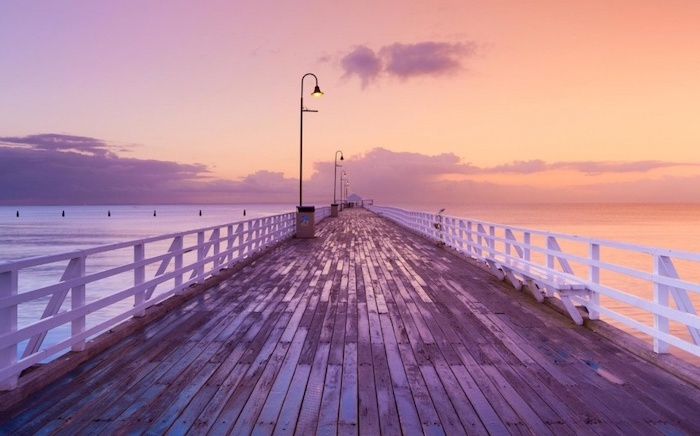wooden pier, by the ocean, girl wallpapers for iphone, sunset sky